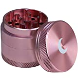 Brando Moon 1.6 inch Best Spice Grinder - Premium 4 Piece Small Metal Spice Grinder Rose Gold with White Moon - Small Grinder with Pollen Scraper, Storage & Cleaning Brush - 1.6