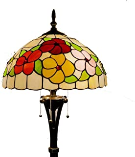 16-Inch Floral Stained Glass Tiffany Style Floor Standing Lamps for Living Room Bedroom Floor Uplighter with 3-Light Reading Floor Lamp,Foot Switch,110-240V,E27
