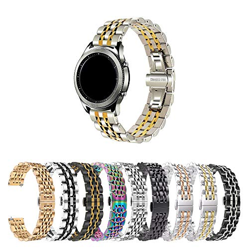 Pulseira 22mm Metal 7 Elos compatível com Galaxy Watch 3 45mm - Galaxy Watch 46mm - Gear S3 Frontier - Amazfit GTR 47mm - Marca LTIMPORTS (Prata com Dourado)