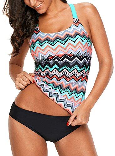 Dokotoo Womens Junior Retro Striped Zigzag Print Color Block Racerback Blouson Push Up Tankini Swim Bikini Top No Bottom Swimsuit Bathing Suit Swimwear X-Large
