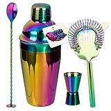 Preis am Stiel Cocktail-Set ''Rainbow'' 4-teilig | Cocktail Mixer | Barzubehör | Geschenkidee für Männer und Frauen | Shaker | Messbecher | Partyzubehör | 500 ml