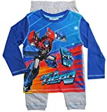 Transformers Schlafanzug Jungen Pyjama Lang (Blau-Grau, 98-104)
