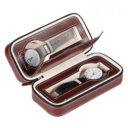 XYSQWZ Watch Box 2 Gitter Männer Frauen Reisekoffer Display Organizer Leder Tragbarer Reißverschluss Perfekt für den persönlichen Gebrauch (Farbe: Schwarz, Größe 2 Gitter)