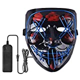 Halloween LED Scary Mask Cosplay Costume Light up Purge Mask EL Wire Mask for Festival Party Halloween Gifts