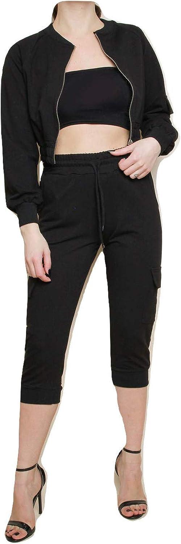 Momo&Ayat Fashions Ladies Cropped Jacket and Cargo Jogger Set CA Size 210