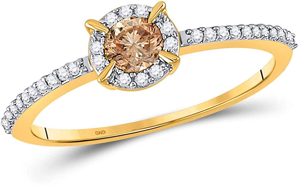 10kt Yellow Excellent Gold Womens Cheap mail order sales Round Brown Bridal Wed Diamond Solitaire