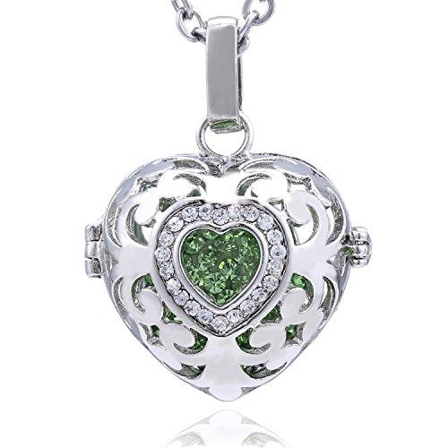 Morella Damen Schutzengel Halskette Edelstahl 70 cm mit Anhänger Herz Liebe und Klangkugel Zirkonia grün Ø 16 mm in Schmuckbeutel