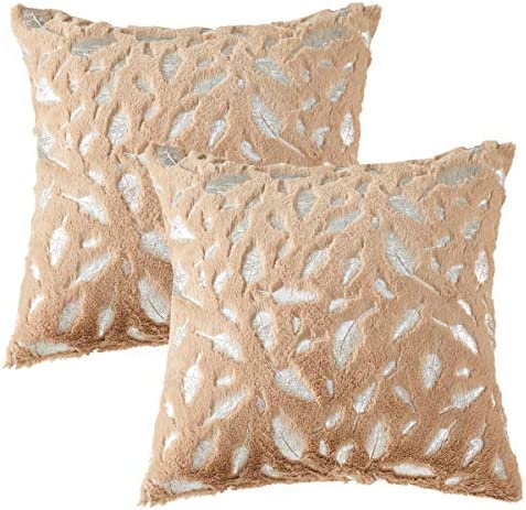 OMMATO Throw Pillows Covers 18 x 18 Set of 2 Khaki Fur with Silver Leaves Soft Throw Pillows product image