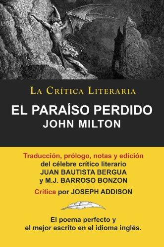 El Paraiso Perdido de John Milton, Colección La Crítica Literaria por el célebre crítico literario Juan Bautista Bergua, Ediciones Ibéricas