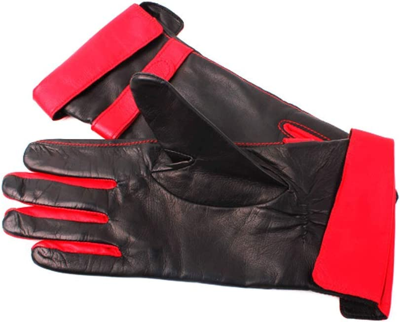 Zcx Black Red Faux Leather Gloves Ladies Autumn and Winter Fashion Thickening Wrist Warm Driving Touch Screen Gloves (Color : Red, Size : One Size)