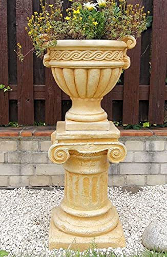 Casa Padrino Maceta Barroco con Columna Beige Ø 48 x A. 99 cm - Magnífica macetero con Columna de...