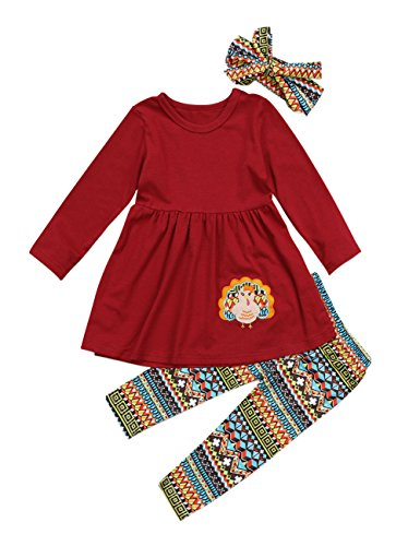 Thanksgiving Day Clothing Sets Kids Baby Girls Long Sleeve Tops Dress+ Turkey Legging Outfit (Wine Red, tag: 130/6-7 T)