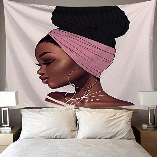 WERT Tapiz de Arte Negro Tapiz de Pared Hermosa Mujer Africana Negra América con Tapiz de Corona de Reina Tela de Fondo A13 100x150cm