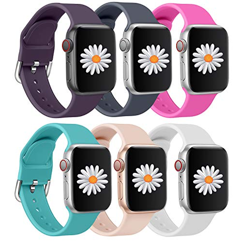 Mosonio 6 Pack Compatible with Apple Watch Band 38mm 40mm 42mm 44mm, Sport Silicone Replacement Band Compatible for iWatch Series 6 5 4 3 2 1(Purple/Grey-blue/Rose Red/Green/Pink/White, 42mm/44mm-M/L)