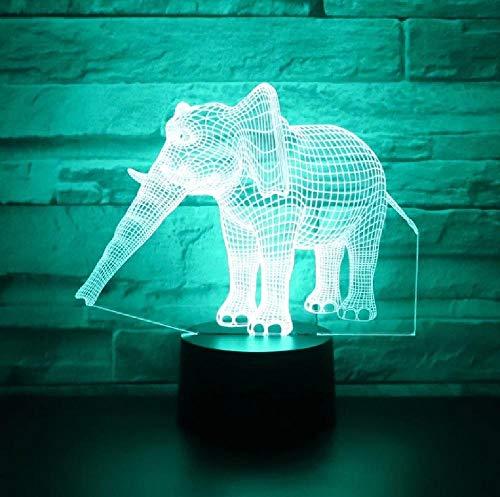 Elefante De Luces De Noche Led 3D Con Luz De 7 Colores Para Lámpara De Decoración Del Hogar Visualización Increíble Ilusión Óptica Impresionante