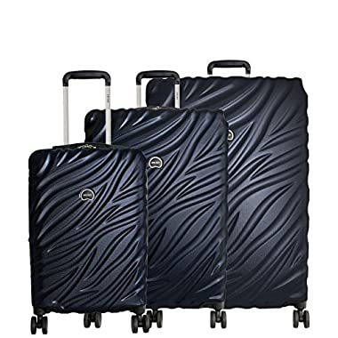 Delsey Paris Alexis Luggage Set 3 Piece Lightweight Hardside Spinner Suitcase (21 /25 /29 ) (Navy)