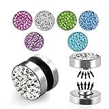 Treuheld® | Silberner Magnet Fake Plug/magnetischer Ohrstecker mit Kristallen in Pink/Rosa | Chirurgenstahl | 8mm | Damen, Kinder + Jugendliche