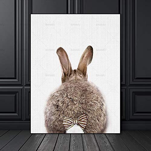 Geiqianjiumai muurschildering poster abstract schilderij kunstdruk konijntje op canvas decoratie woonkamer linnendoek frameloos schilderij