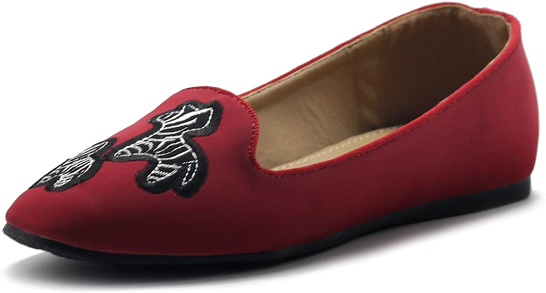 Ollio Women's shoes Embroided Zebra Slip-On Light Comfort Flat