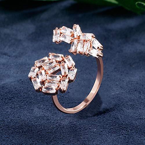 LYWZX Ringe Für Damen Verstellbar Rechteck Pflastern Glänzende AAA-Zirkonia-Kristall-Offene Justierbare Ringe Für Frauen-Art- Und Weisehochzeitsfest Jewelry-Resizable_Gold_Color