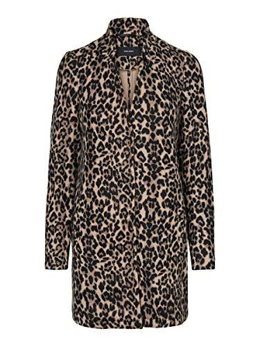 Vero Moda VMBRUSHEDKATRINELEO AW20 3/4 Jacket Boos Chaqueta, AOP: Leopard Sepia Tint, L para Mujer