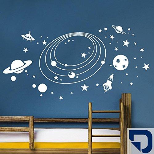DESIGNSCAPE® Wandtattoo Weltall mit Planeten, Rakete, Sternen und Ufos 90 x 46 cm (Breite x Höhe) königsblau DW808051-S-F13