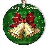 EaYanery - Adorno de cerámica personalizada, diseño de campanas navideñas, copos de nieve, diseño retro