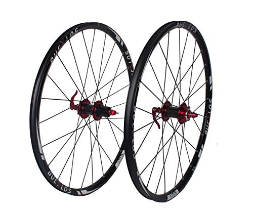 BUCKLOS US-Stock MTB Bicycle Wheelset Carbon Hub, 26 27.5 29 inch Mountain Bike Wheelsets Rim with QR, 7-11 Speed Wheel Hubs Disc Brake, Double Wall Flat Spokes Wheelset 25mm Width 24H