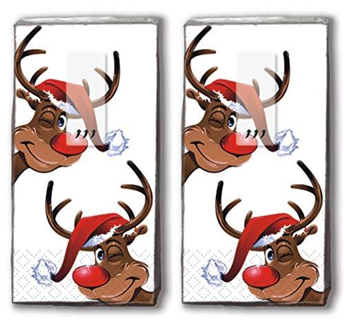 20 Taschentücher (2x 10) Taschentücher Rudolph/Rentier/Winter/Weihnachten