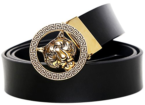 RosyU Men's Luxury Tiger Buckle 35-mm Leather Belt (Black, 125cm/(44-46)(Can be cut))