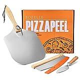 Bobelle Aluminium Pizzaschaufel,Pizzaschiebe 60.3*30.5CM Mit dem Pizza Cutter&Spatula Set,für Pizzaofen im Innen- und Außenbereich. Gebäck, Teig,Brotschäl- und Wiegemesser-Pizzapaddel Pad
