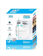 Bebop N95 Face Mask | 5 Layered High Filtration Capacity with genuine Meltblown and Hot Air Cotton | Five Layer Reusable Particulate Mask | FDA, CE, GMP, ISO (Pack of 10)