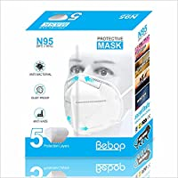 Bebop N95 Face Mask | 5 Layered High Filtration Capacity with genuine Meltblown and Hot Air Cotton | Five Layer Reusable...