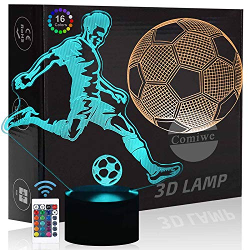 Football Soccer 3D Illusion Night Light Toy,16 Colors Change Smart Touch & Remote Control,Home Decor LED Bedside Table Lamp,Christmas Birthday Gift for Boy Kids Adult Friends & Family-2 Pattern Plates