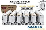 32 Pc Alcoa Style Chrome Lug Nuts For Dually's With Pressed In Washer Attached M14x1.5 Thr...