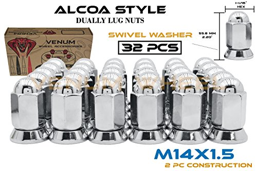 32 Pc Alcoa Style Chrome Lug Nuts For Dually's With Pressed In Washer Attached M14x1.5 Thread Fits Silverado Sierra 3500HD Ford F-350 Ram 3500