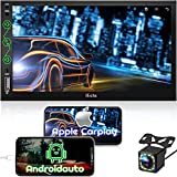 Double Din Radio Compatible with Apple Carplay & Android Auto, 7 Inches Touchscreen Car Stereo with Bluetooth, AM/FM Audio Receiver, Backup Camera, Voice Control, Mirror Link, AUX Input/SWC/USB