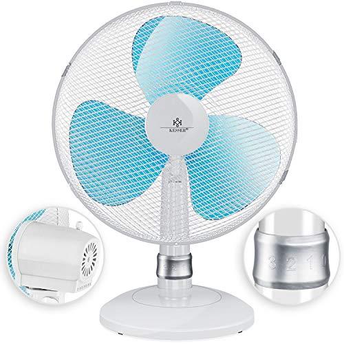 KESSER® - Tischventilator 30cm Ventilator mit 3-Leistungsstufen | Leise Betrieb | Oszillation ca. 85° | Neigungswinkel 30° | Windmaschine | Luftkühler | Geringes Betriebsgeräusch Weiß