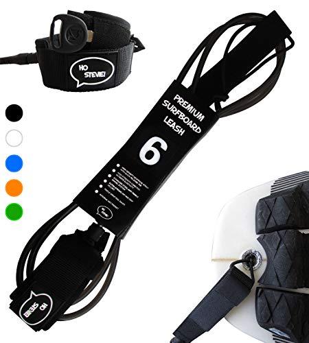 "Ho Stevie! Premium Surf Leash [1 Year Warranty] Maximum Strength, Lightweight, Kink-Free, Types of Surfboards. 7mm Thick (1/4"") (Black, 9 Feet)"