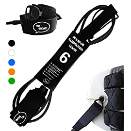 """Ho Stevie! Premium Surf Leash [1 Year Warranty] Maximum Strength, Lightweight, Kink-Free, for All Types of Surfboards… 6 💪 MAXIMUM STRENGTH surfboard leash won't snap and leave you stranded! Designed and tested in California... we surf every day, and we designed our leashes to withstand rigorous use. 100% Money-Back Guarantee, and 1 Year Warranty. 🏄♂️ Available in 6 feet, 7 feet, 8 feet, or 9 feet sizes. We recommend choosing a leash length similar to the length of your surfboard. PERFECT FOR ANY SIZE BOARD - shortboards, longboards, funboards, fishes, or SUPs. 🔑 SUPER COMFORTABLE High Density Neoprene padded 1.5"""" ankle cuff won't slide around on your ankle. Store your key in the SECURE KEY POCKET in the cuff."""