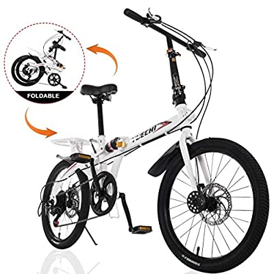 LODDD Leisure 20in Alloy Wheels Road Tires Folding Bikes (US Stock) 38 lbsHigh Tensile Steel Folding Frame7 Speed ??City Folding Compact Suspension Bicycle Urban Commuters