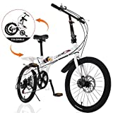 Gywlyxgs Compact Folding Bike Lightweight Bicycle Urban Commuter with Back Rack ,7-Speed Folding Bike 20-Inch