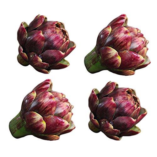"""Lorigun 3,5"""", künstliche Artischocke, künstliches Gemüse, künstliche Plastikblume, Polyethylenblume, Inneneinrichtungen, Blumenschmuck, Weihnachtsdekoration, Herzstück, 4 Stück (rot)"""