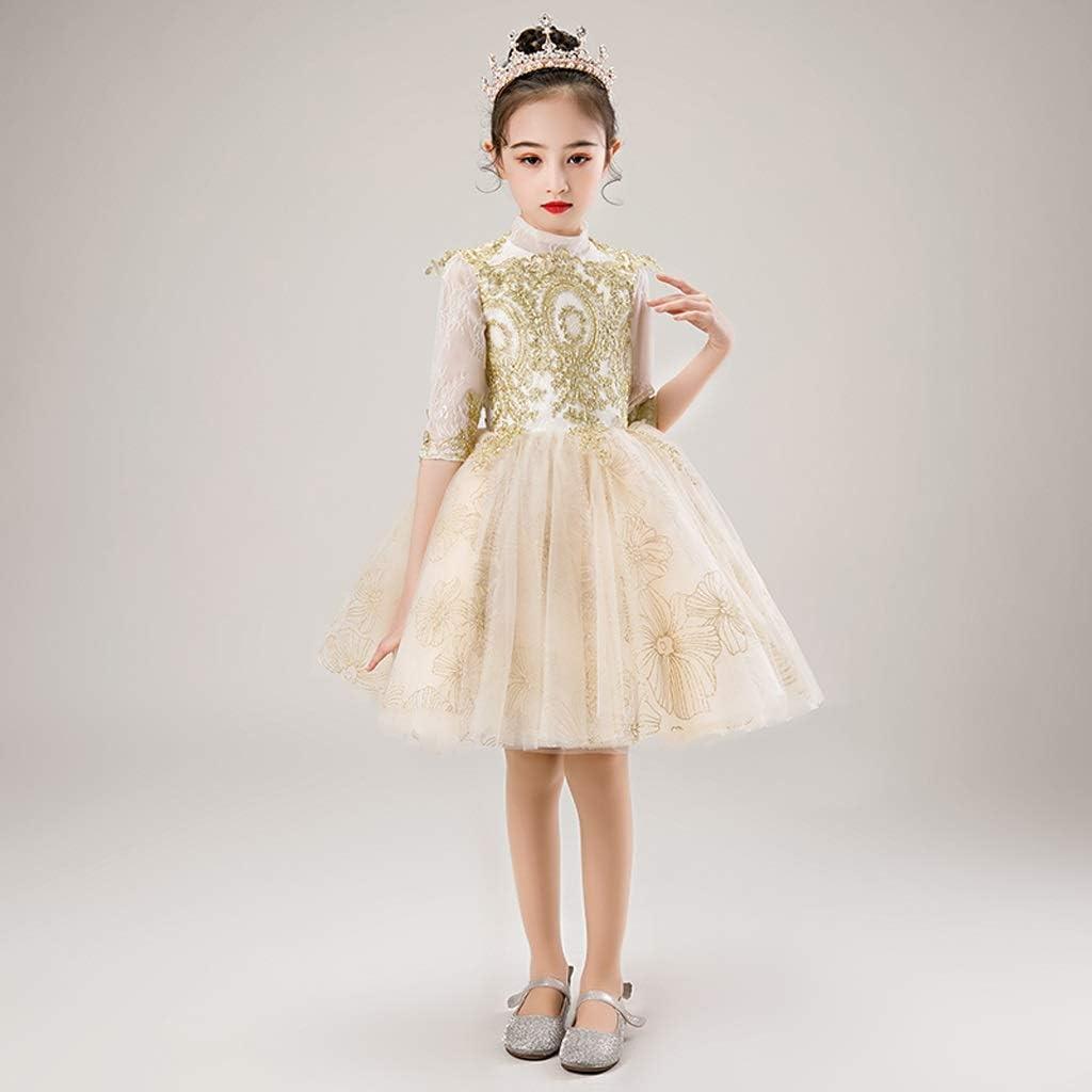 TONG Girls Dress Flower Girl Birthday Princess Dress Host Piano Performance Dress Kids Fluffy Evening Dress Soft (Color : Gold, Size : 150cm)