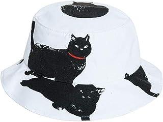 ACVIP Women's Cats Printed Linen Breathable Sun Bucket Hat