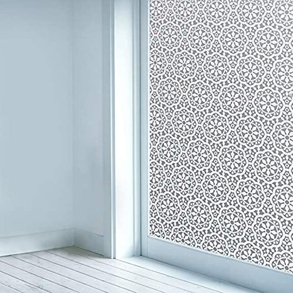 Privacy Window Film Non Adhesive Glass Window Sticker Paper Static Cling Decorative Snowflake Pattern Flower Decal Panel 17 7 X 78 7 CAS103