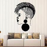 Calcomanía de vinilo para pared de salón de pelo personal, salón de belleza para mujer africana, pegatina negra para mujer, decoración de ventana de peluquería, A7 42X60cm