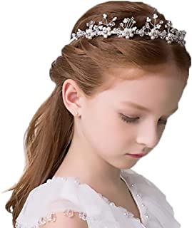 Campsis Princess Pearl Headpiece Silver Crystals Headdress Delicate Hair Accessory for First communion for Girls
