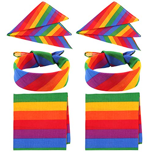 Unime 6 Pack Rainbow Bandanas Stripe Square Scarf for Party Celebration Supplies, 21.7x21.7 inch
