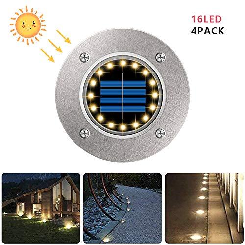 4Pcs Luces de Tierra Solares, POWERAXIS Luz Exterior Solar Luces de Piso 16 LED Luces Solares de Jardín Piso Exterior IP65 Impermeable LED Lámpara Solar de Exterior, Blanco Cálido